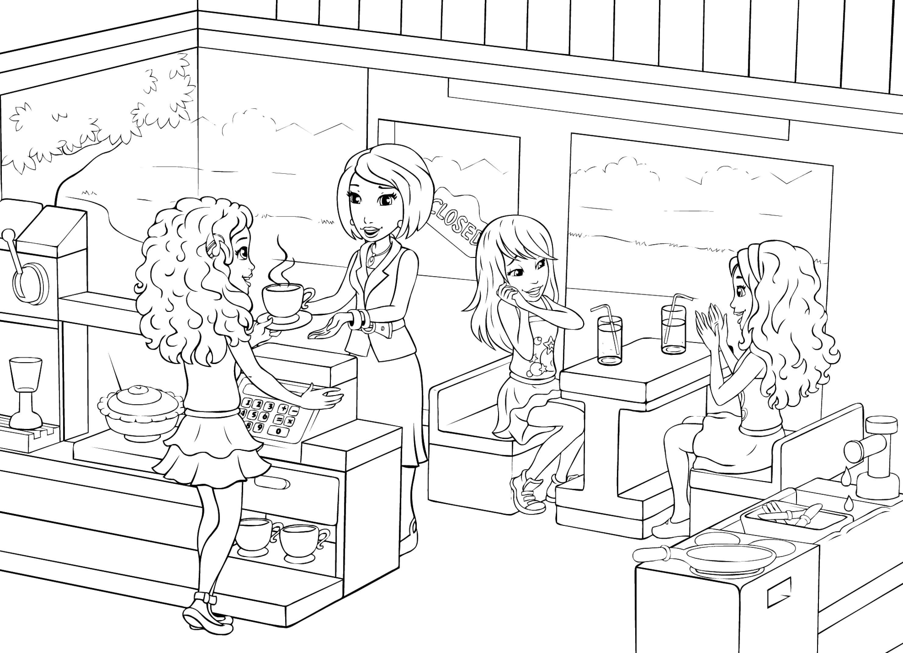 lego friends dibujos colorear cafeteria - Dibujalandia