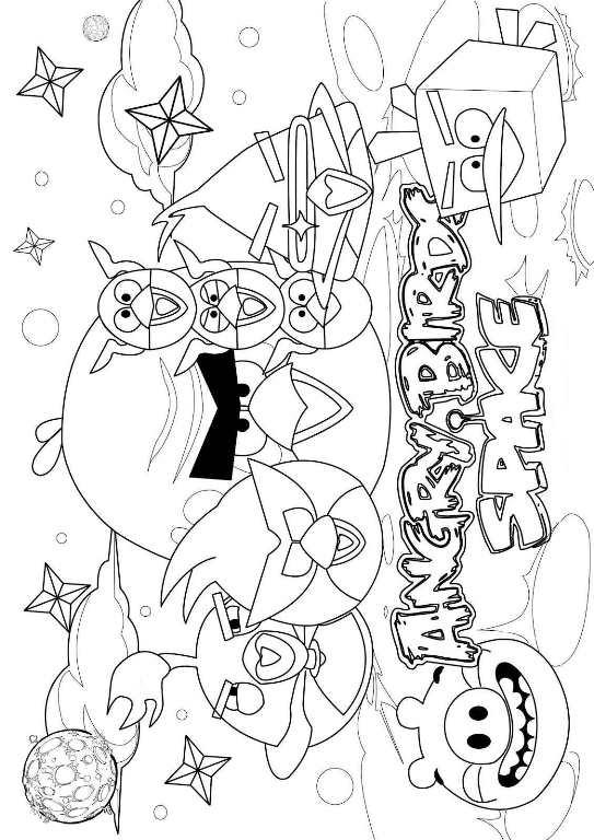 Angry bird space , dibujos para colorear