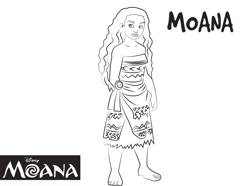Dibujos De Princesas Para Colorear: Moana-dibujos-colorear-princesa-disney