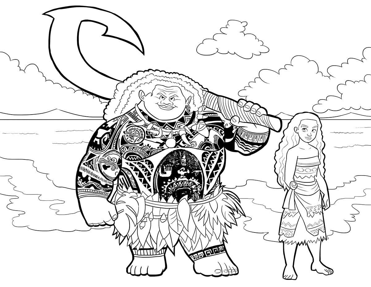 Dibujo Para Colorear De Maui Personaje Película Moana: Moana Y Maui Dibujos Para Colorear