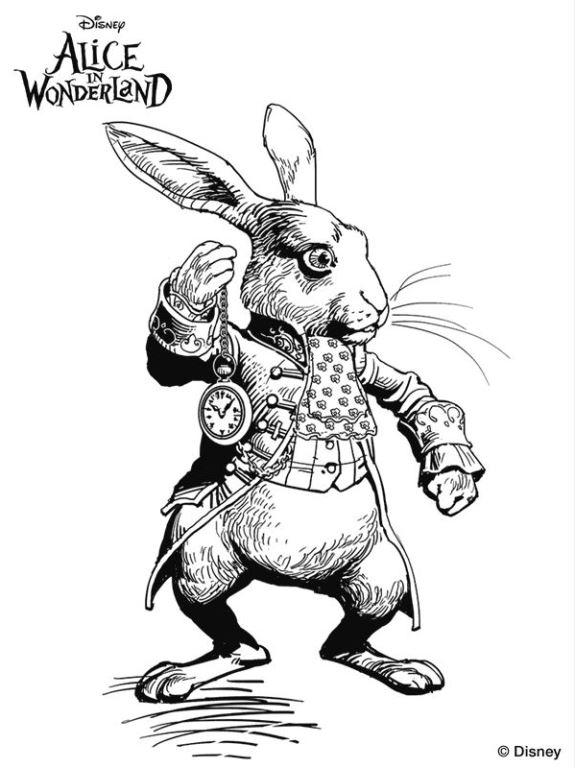 Conejo pelicula alicia pais de las maravillas tim burton dibujos colorear dibujalandia - Conejo de alicia en el pais de las maravillas ...