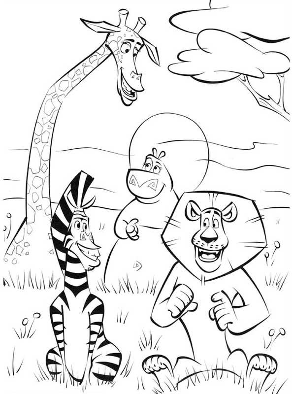 amigos en la selva madagascar la pelicula dibujos para colorear ...
