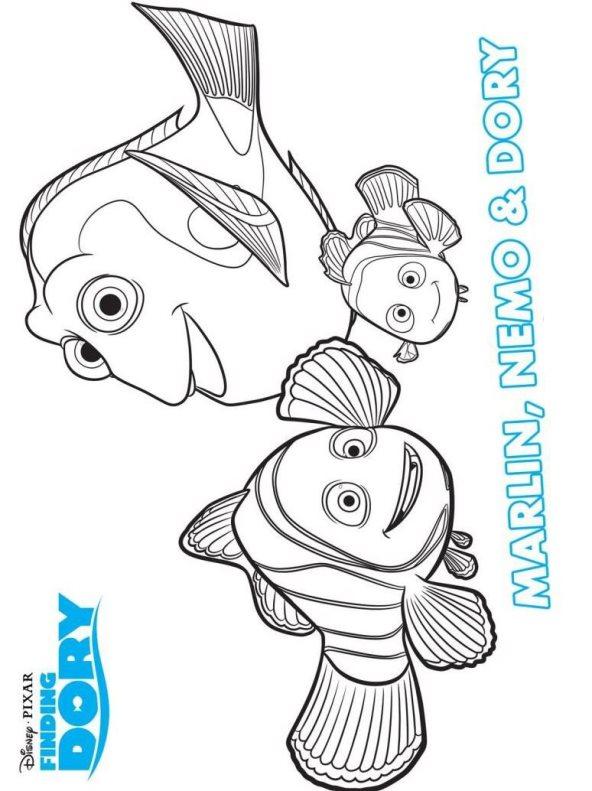 Marlin y Nemo buscando a dory colorear - Dibujalandia