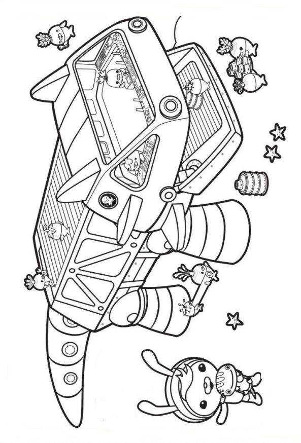 Octonautas y maquina dibujos colorear - Dibujalandia