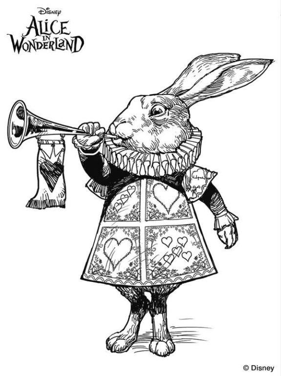 Conejo pelicula alicia tim burton dibujos colorear for Tim burton coloring pages