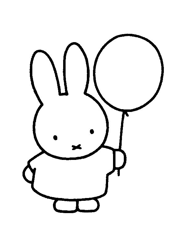 Kleurplaat Nijntje Verjaardag Miffy Conejita Globo Dibujos Colorear E Imprimir