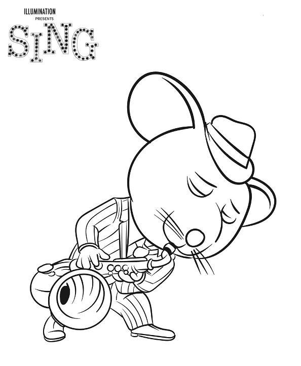Mike Sing Canta la pelicula dibujos colorear - Dibujalandia